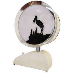 English Extreme Art Deco Drum Shaped Nursery Night Light or Table Lamp