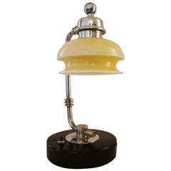 American Art Deco Small Adjustable Shade Desk or Table Lamp by Gilbert Rohde for the Mutual Sunset Lamp Company.