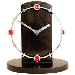 Rare German Art Deco Chrome, Enamel, and Wood Mechanical Shelf Clock
