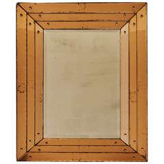 Rare English Art Deco Mirror with Triple-Banded & Decal-Edged Peach Mirror Frame