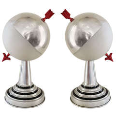 Pair of American Art Deco Aluminium and Frosted Glass Armillary Styled Spherical Accent Table Lamps