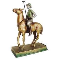 Rare Austrian Art Deco Cold Painted Spelter Polo Player Table Striker Lighter