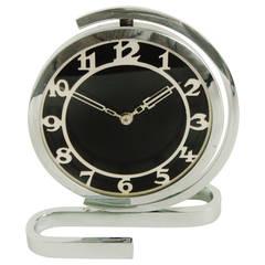 Stylish American Art Deco and Machine Age Chrome Mechanical Swivel Desk Clock