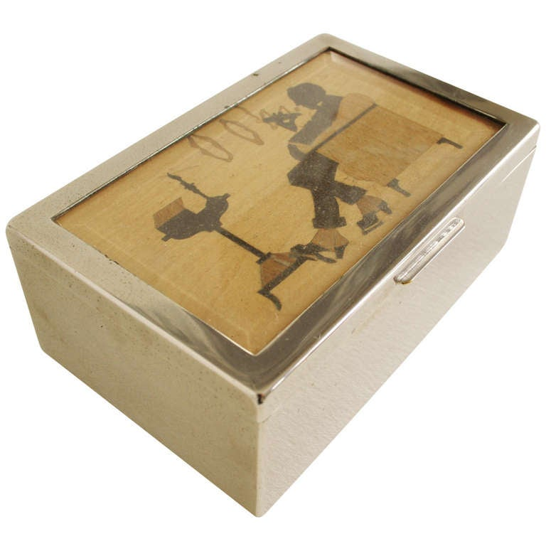 American Art Deco Nickel Plated and Wood Lined Cheroot or Cigar Box with Inlaid Wood Graphic of a Cigar Smoker on Lid