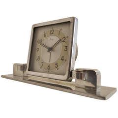 French Art Deco or Machine Age Polished Aluminium Mechanical Alarm Clock