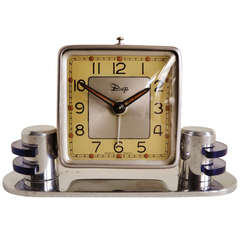 Tiny Perfect French Art Deco or Machine Age Chrome Mechanical Alarm Clock with Lucite Accents