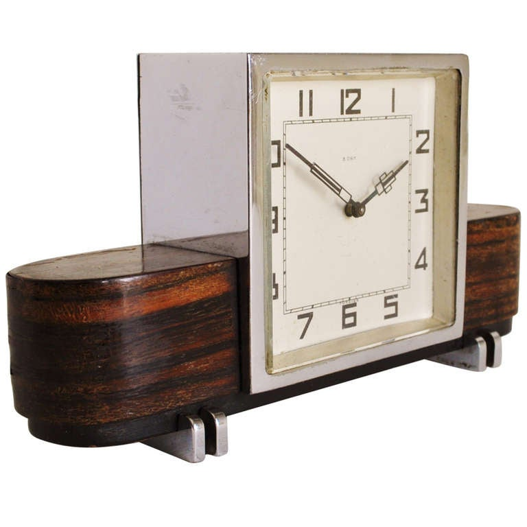 Small German Art Deco Chrome and Macassar Veneer Mechanical 8-Day Desk Clock