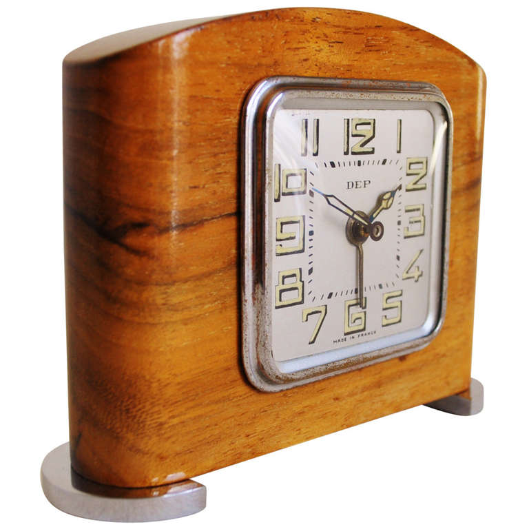 Small french art deco chrome and blonde wood mechanical Art deco alarm clocks