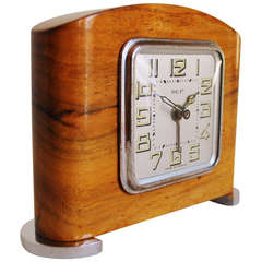 Small French Art Deco Chrome and Blonde Wood Mechanical Alarm Clock