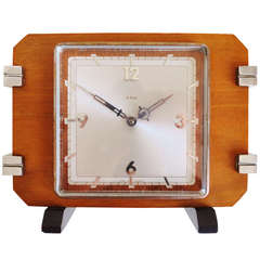 French Art Deco 8-Day Lever Movement Shelf Clock in Blonde Walnut with Chrome and Ebonised Accents