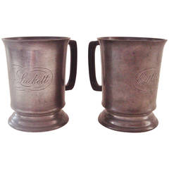 "Pair of Victorian English Pewter Tankards by Walter Perry Complete with ""Typo"""