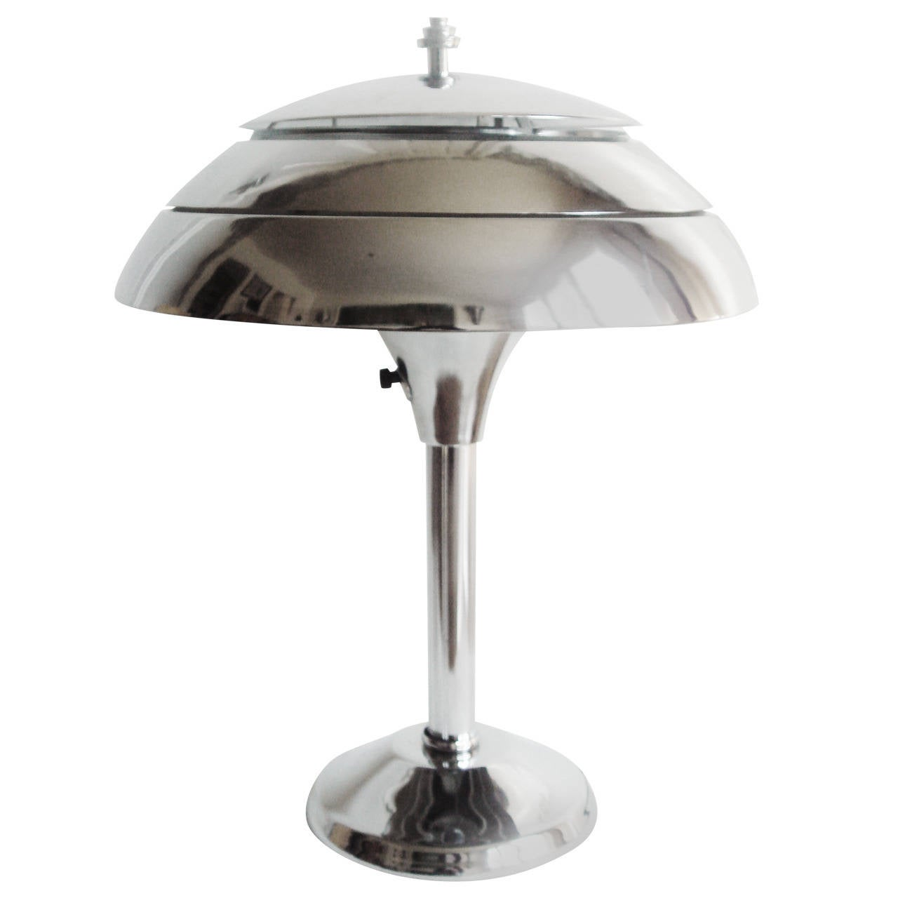 American art deco restored chrome triple layer mushroom for Art deco style lamp
