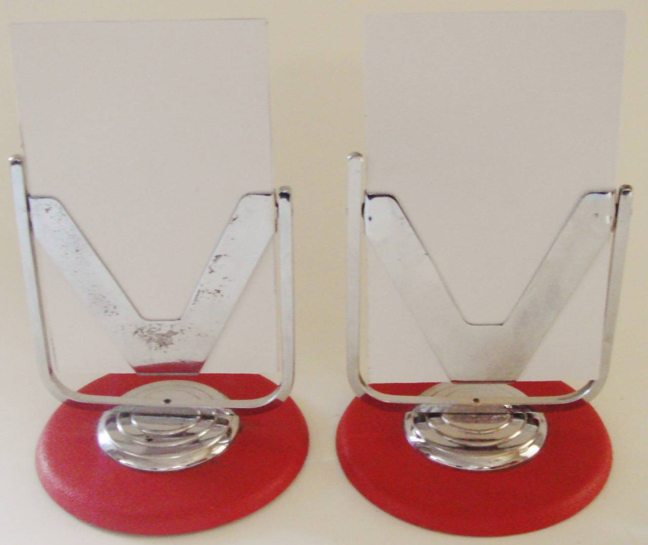 Art Deco Pair of English Deco Revival Chrome and Red Leatherette Tilt Desk Frames For Sale