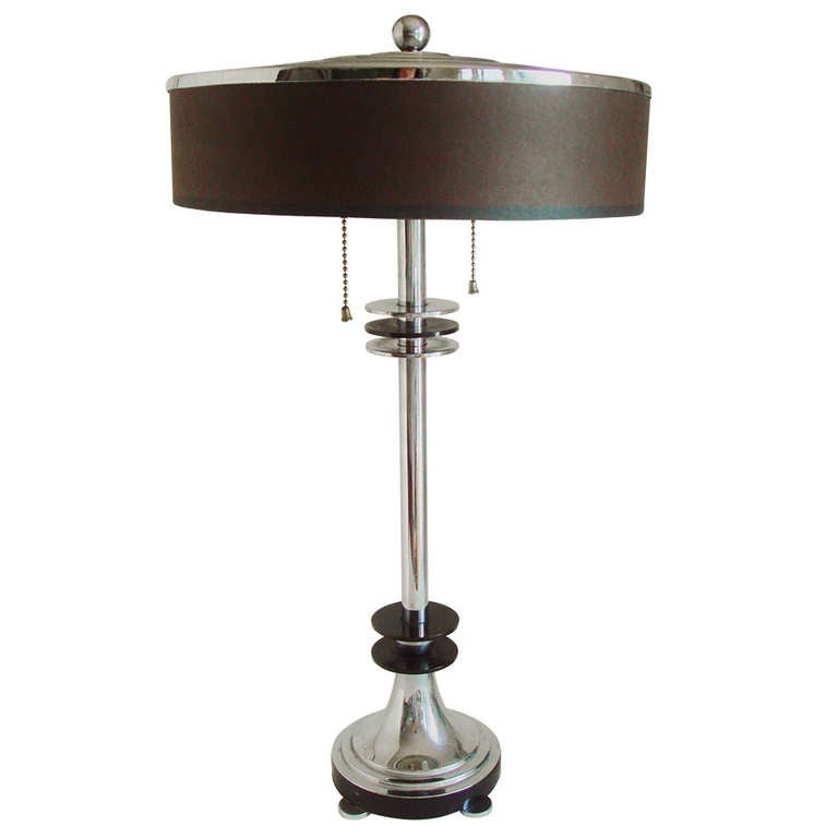 Very Rare Canadian Art Deco or Machine Age Chrome and Black Enamel Table Lamp.
