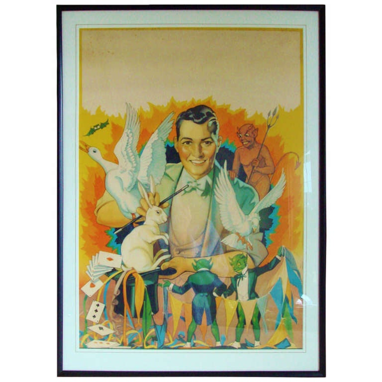 Beautiful American Original Lithographic Generic Magic Show Poster For Sale