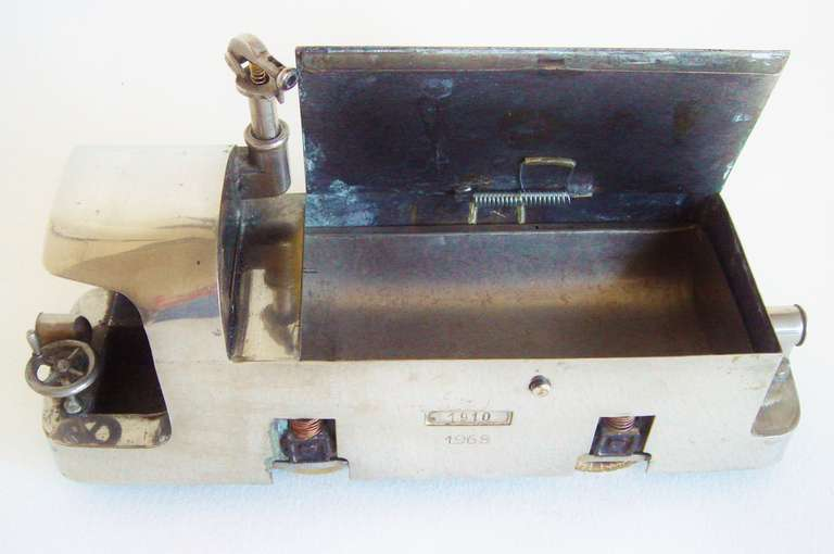 20th Century American Outsider Art Polished Metal Presentation Locomotive Cheroot or Cigarette Box with Rubber Tires and Suspension For Sale