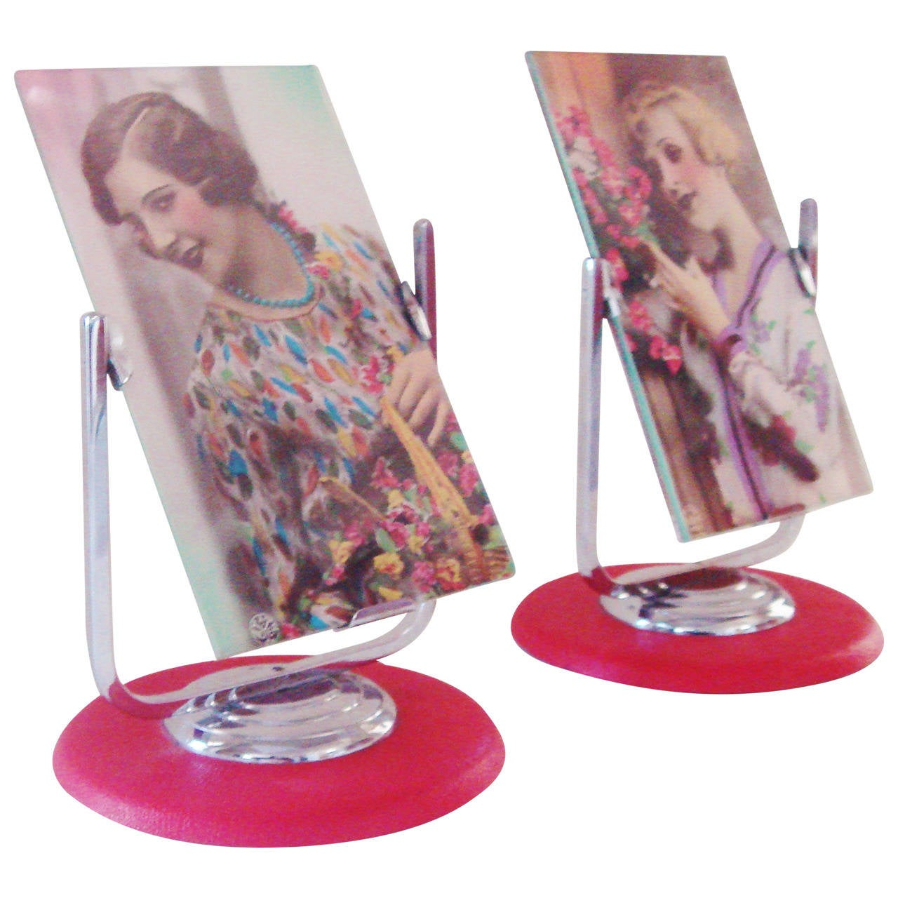 Pair of English Deco Revival Chrome and Red Leatherette Tilt Desk Frames For Sale