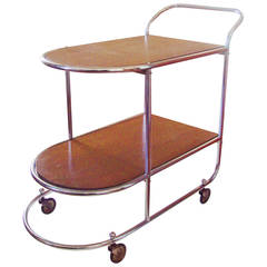Belgian Art Deco Two-Tier Chrome and Wood Bar Cart