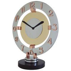 Large French Art Deco Bayard Tri-Colour Metal Mechanical Eight-Day Mantel Clock
