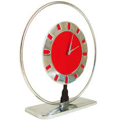 Iconic American Art Deco or Machine Age Chrome Plated Metal and Celluloid Mechanical Clock by Frank N. Marinari