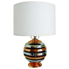 American Art Deco or Machine Age Copper and Chrome Plated Metal Table Lamp