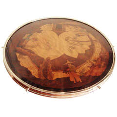 Very Large German Art Deco Nickel Plated Brass and Painted Wood Chinoiserie Lazy Susan by W.M.F.