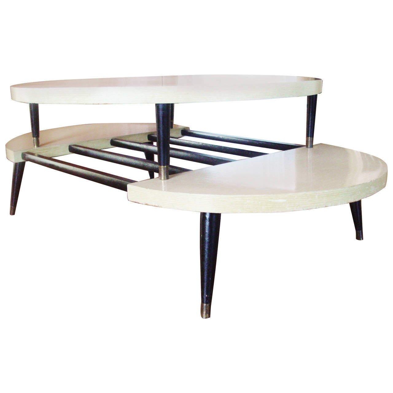 Mid Century Two Tone Coffee Table By Weiman: Rare American Mid-Century Modern Two-Tier, Two-Tone Coffee