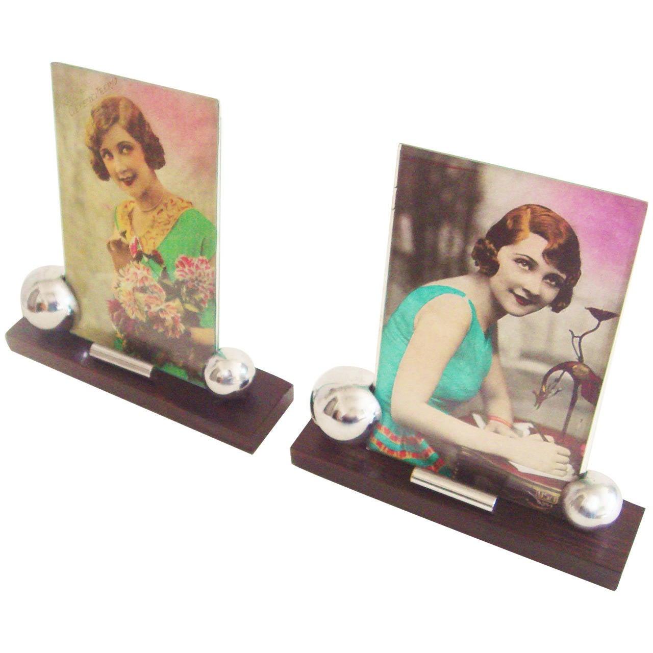 Pair of French Art Deco Macassar Ebony and Chrome Desk Photo Frames