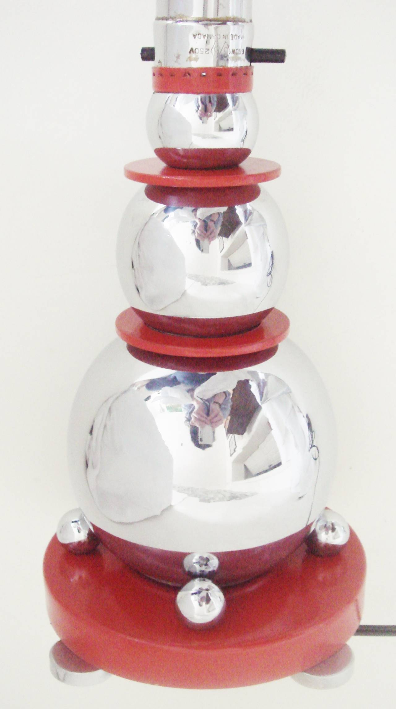 Rare Art Deco Chrome and Red Enamel Cone and Sphere Table Lamp by Electrolier 7