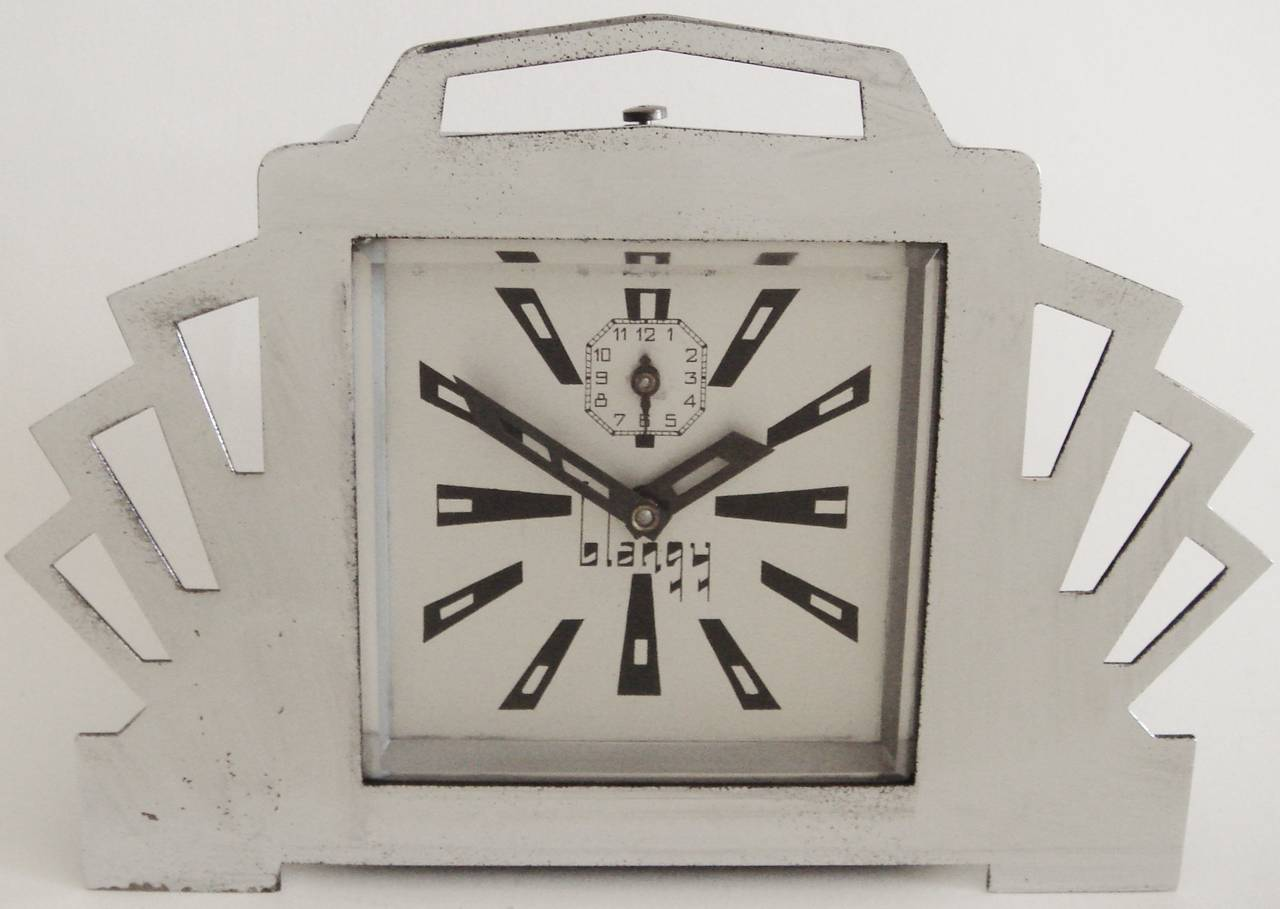 French ultra art deco styled chrome and black mechanical Art deco alarm clocks