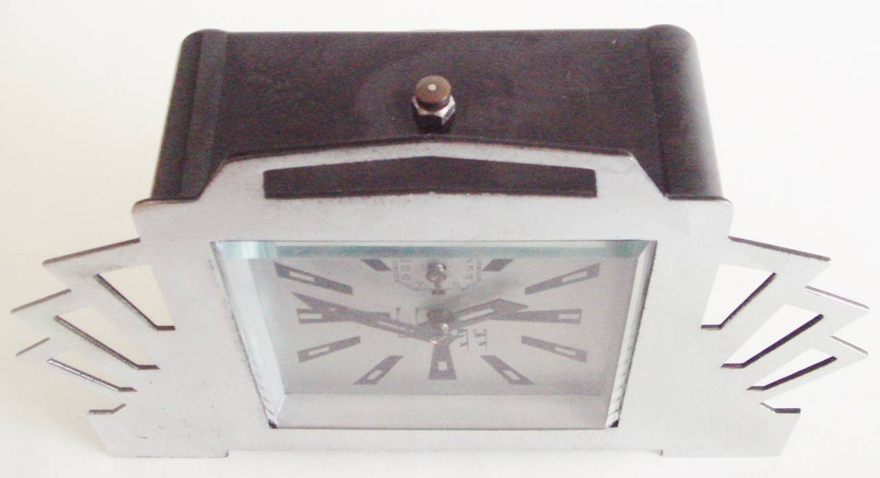 Painted French Ultra Art Deco Styled Chrome and Black Mechanical Alarm Clock by Blangy For Sale