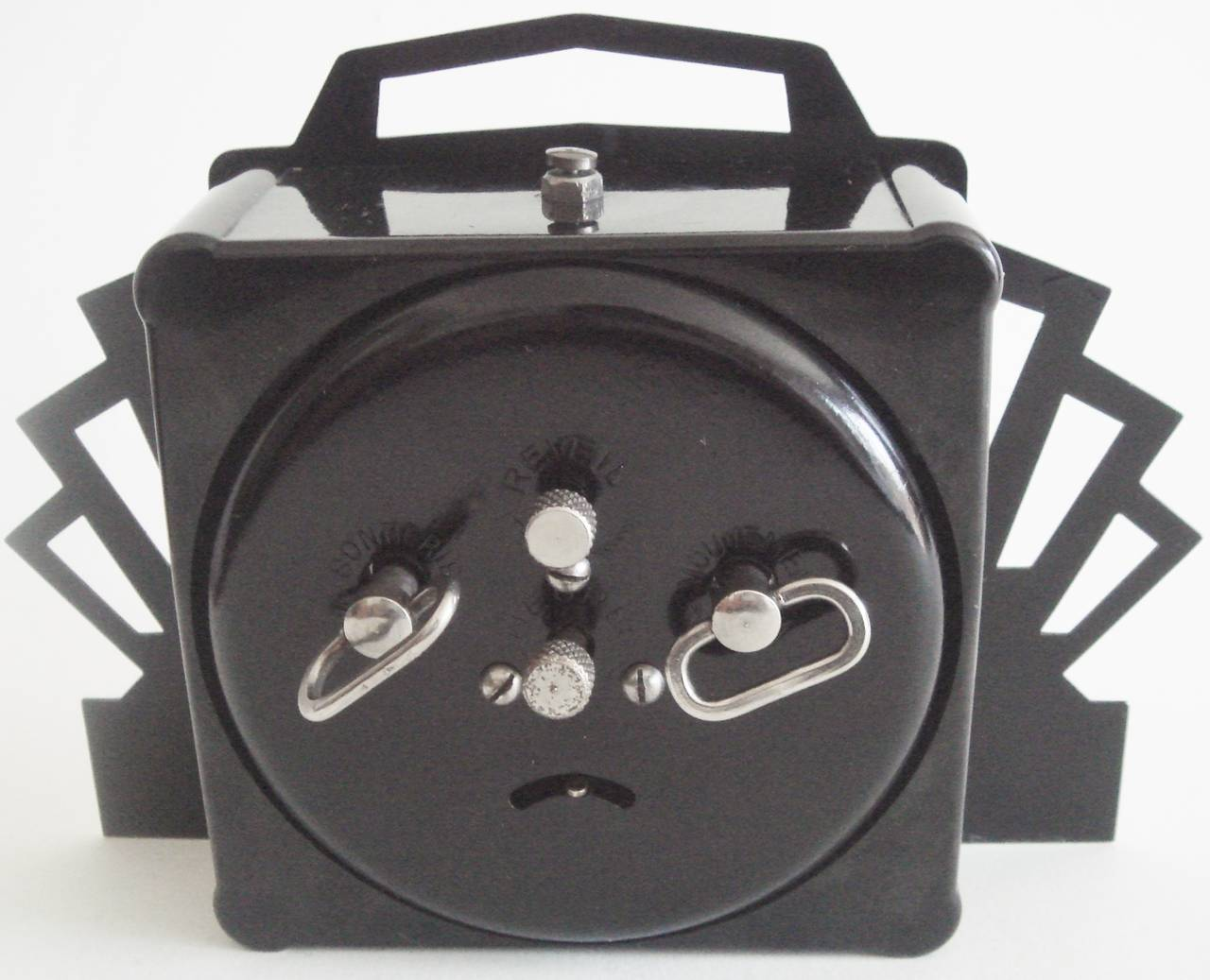 Metal French Ultra Art Deco Styled Chrome and Black Mechanical Alarm Clock by Blangy For Sale