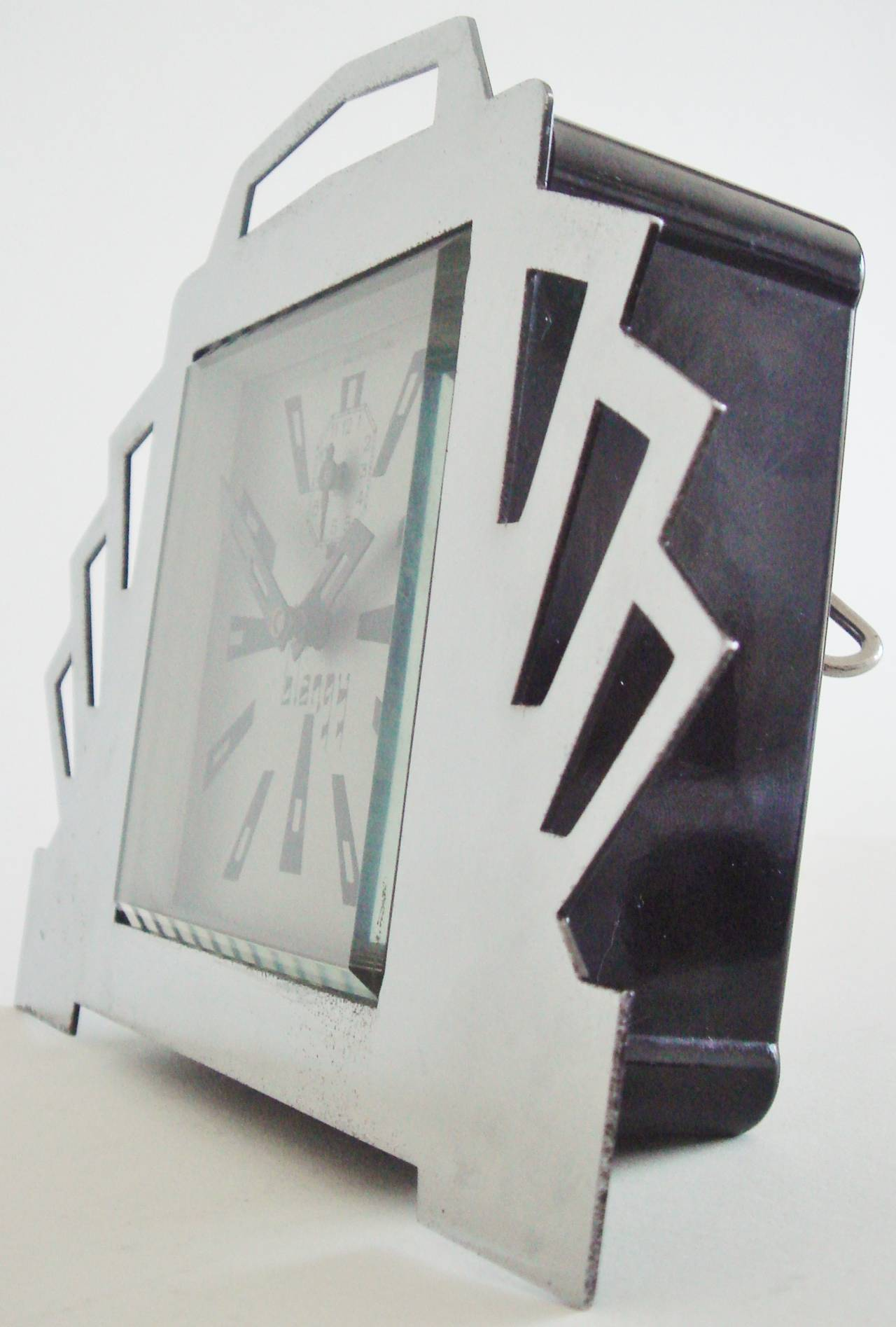French Ultra Art Deco Styled Chrome and Black Mechanical Alarm Clock by Blangy In Good Condition For Sale In Port Hope, ON