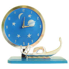 Very Rare American Art Deco Figurative Mechanical Clock by Frank Mariani