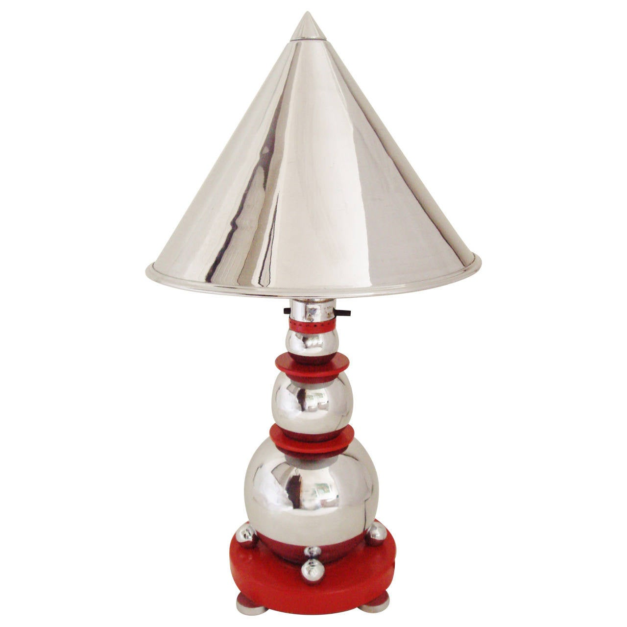 Rare Art Deco Chrome and Red Enamel Cone and Sphere Table Lamp by Electrolier
