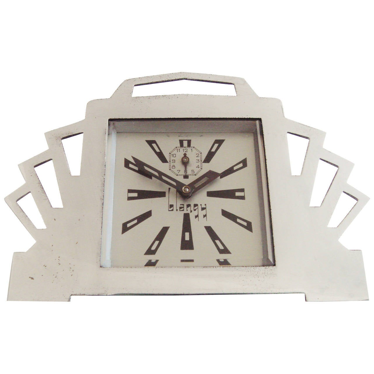 French Ultra Art Deco Styled Chrome and Black Mechanical Alarm Clock by Blangy For Sale