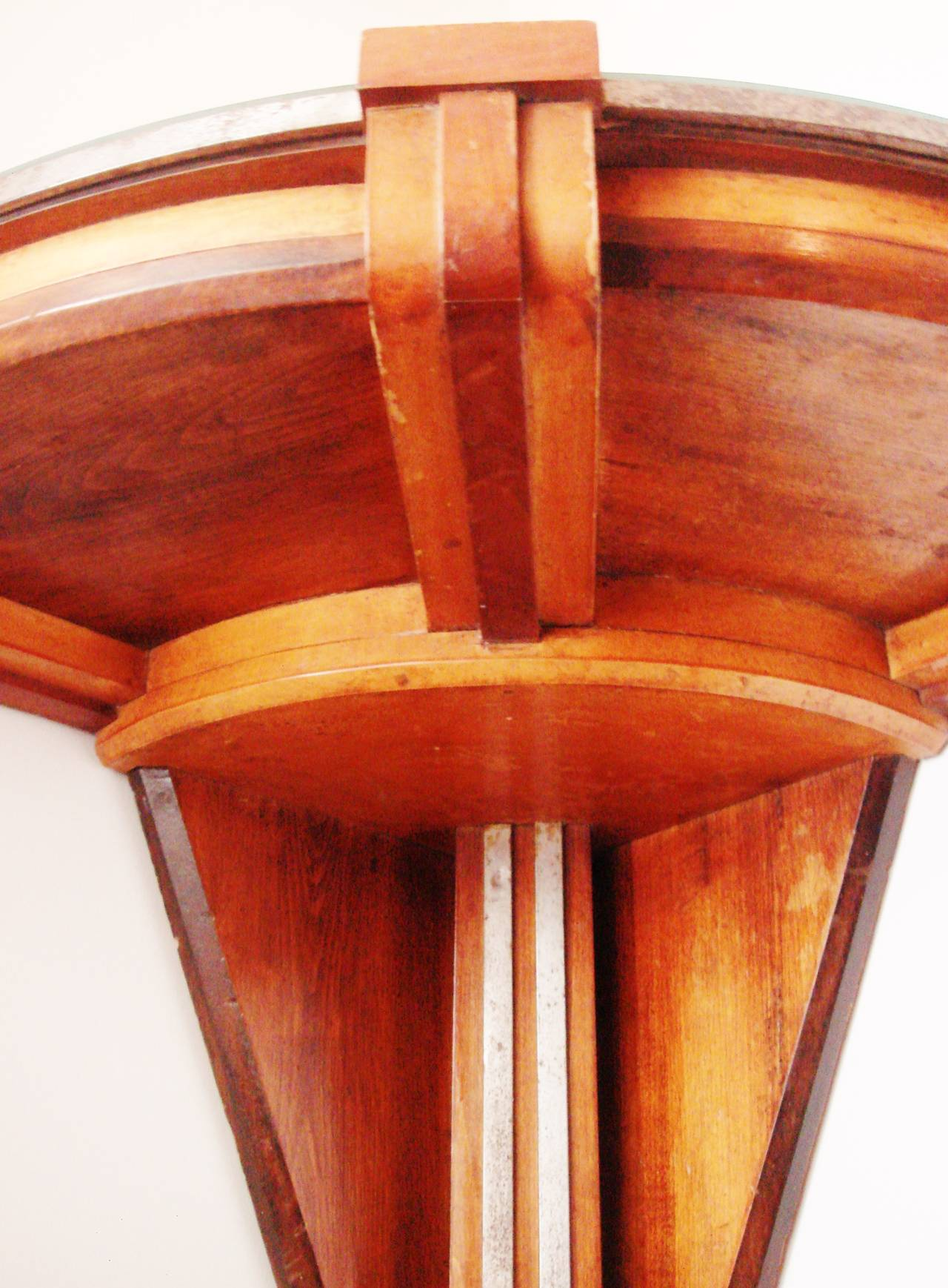 ... Wood and Chrome Banded Wall Mounted Corner Table For Sale at 1stdibs