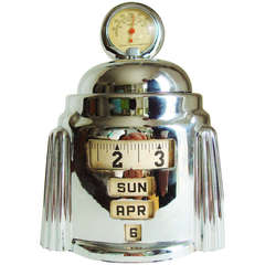 American Art Deco Chrome Plated Mechanical Kal-Klock with Tel-Tru Thermometer