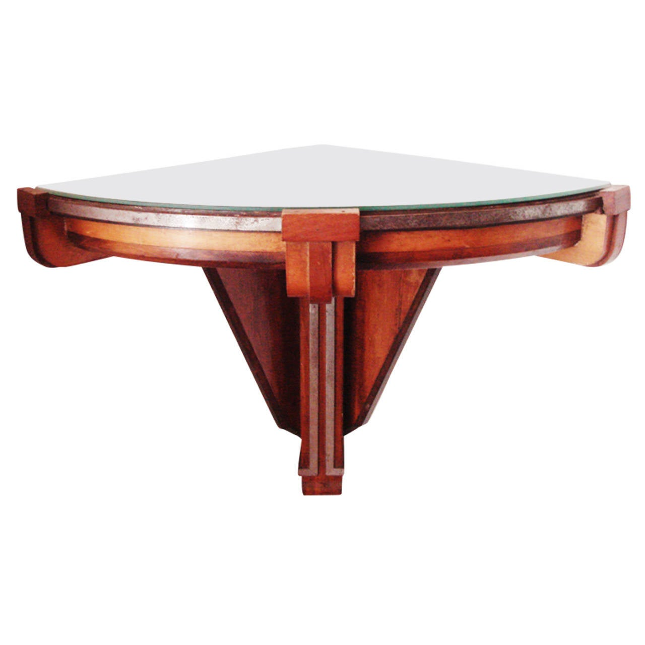 American Art Deco Polychrome Wood And Chrome Banded Wall Mounted Corner  Table For Sale