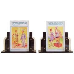 Pair of English Art Deco Bakelite Veneer, Lucite and Glass Odeon Desk Frames