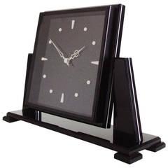 Large English Art Deco Smiths Black and White Lucite Electric Tilt Mantel Clock