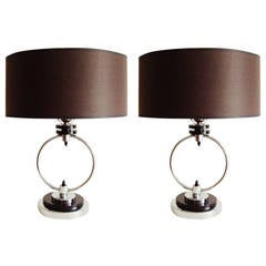 Pair of American Art Deco or Machine Age Chrome and Black Table or Bedside Lamps