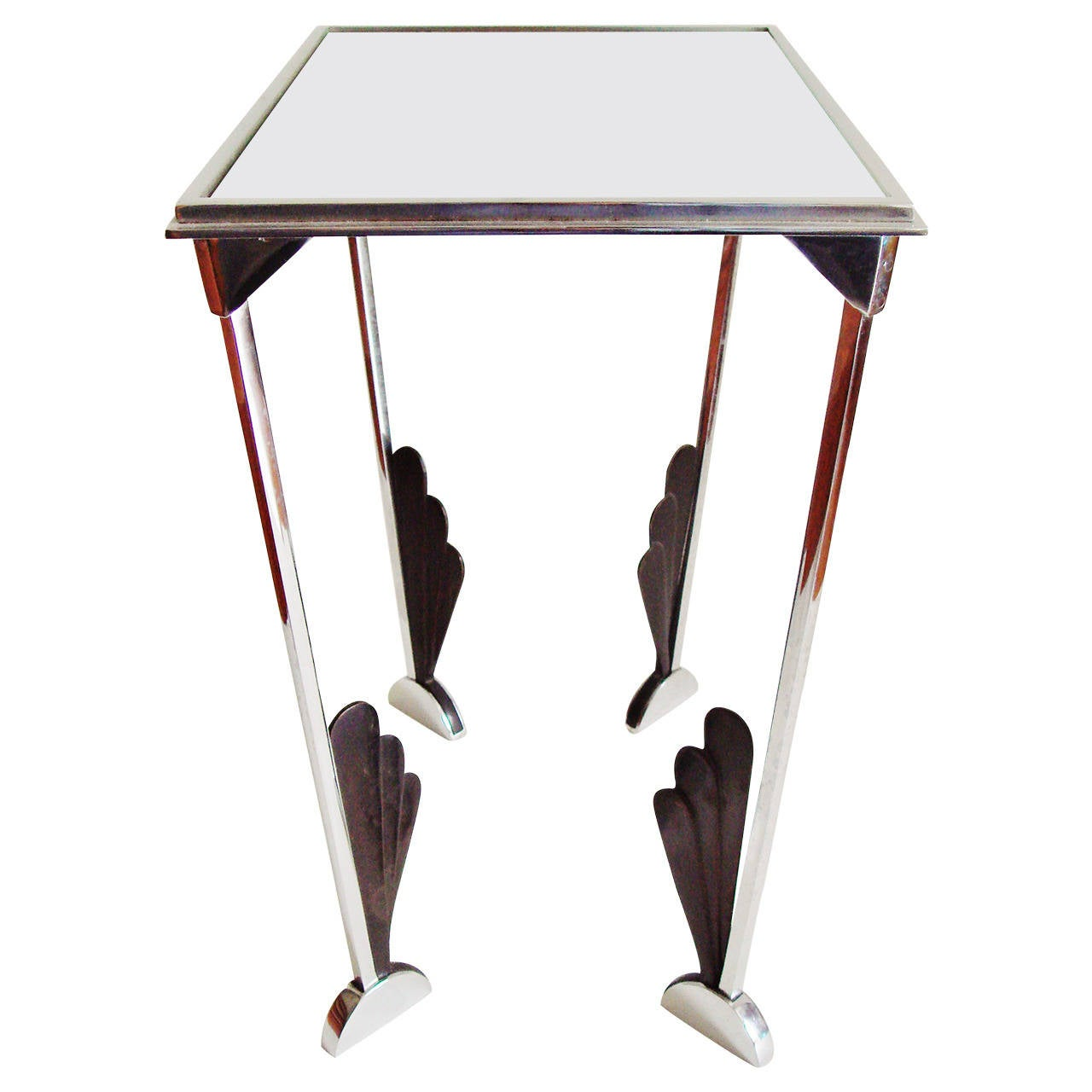 American Art Deco Chrome, Black and Mirror Topped Tray Table or Magazine Stand
