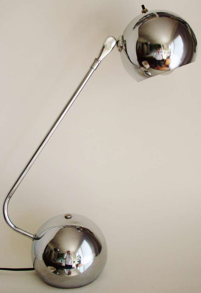 American Mid-Century Chrome Adjustable Eyeball Desk Lamp For Sale ...