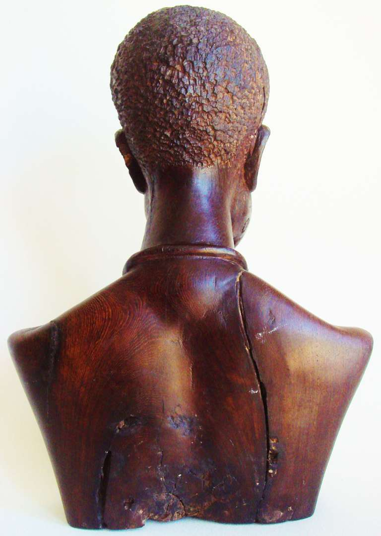 French Carved Wood Bust Of African Warrior In The Style Of