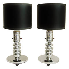 Pair of Small American Art Deco/Machine Age Chrome and Wood Table/Boudoir Lamps