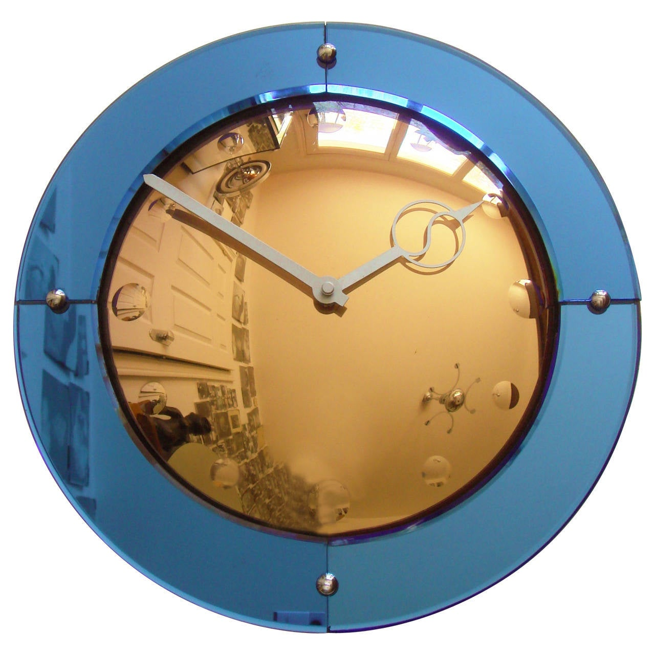 English Art Deco Convex Peach And Cobalt Mirror U0027Venusu0027 Wall Clock By  Smiths For Pictures Gallery