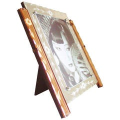 Magnificent English Art Deco Reverse-Etched Peach and White Mirror Frame
