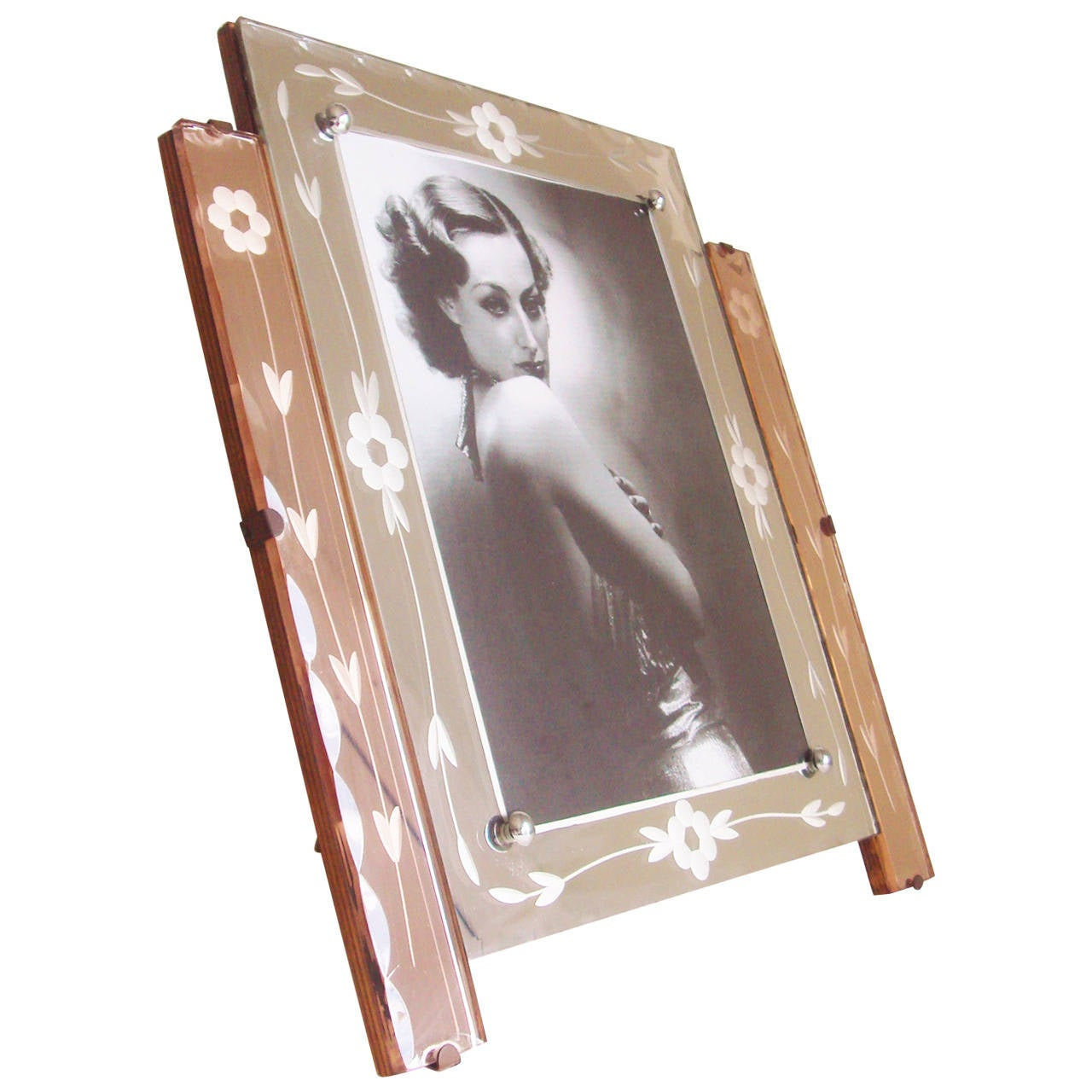 Magnificent English Art Deco Reverse-Etched Amethyst & White Mirror Table Frame