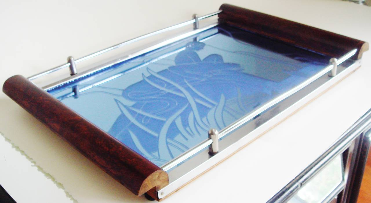 Art Deco Wood, Chrome and Blue Mirror Reverse Etched Boy and Panther Tray For Sale 2